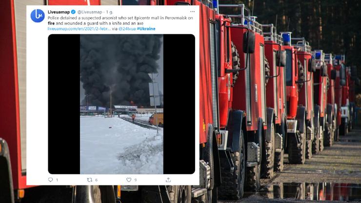 Ukraina. Ogromny pożar w markecie. Podpalacz ranił siekierą ochroniarzy