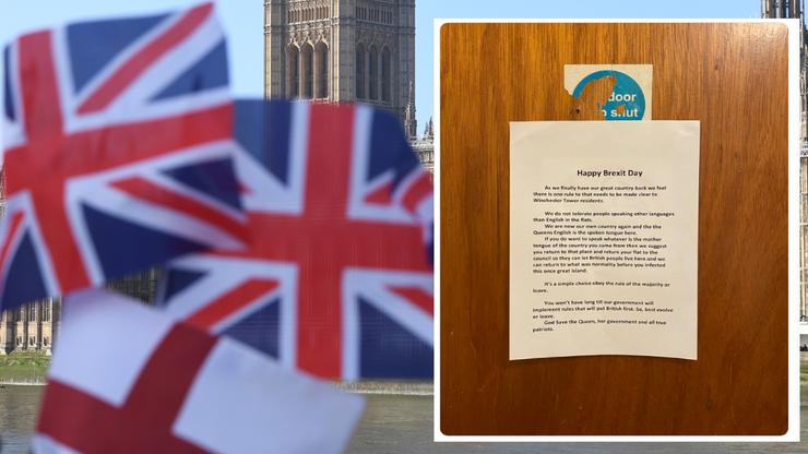 """Brexit. Ogłoszenie w bloku w Norwich. """"Jeśli chcesz mówić w swoim języku, wróć do swojego kraju"""""""