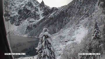 Turyści wchodzą na świeży lód na Morskim Oku. Tatrzański Park Narodowy ostrzega: jest cienki!